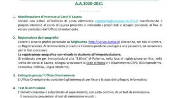 Immatricolarsi 5 passi 2020-2021